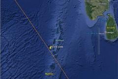 I frammenti del razzo cinese finiti nell'Oceano Indiano