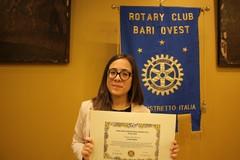 Carmen Rubini premiata dal Rotary Club Bari Ovest. FOTO.