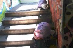 Sacchi di rifiuti lungo le scale del sottopasso di via Mariotto