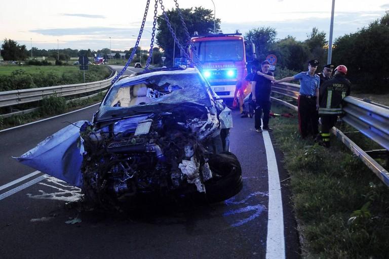 L'incidente stradale avvenuto a Vermezzo con Zelo