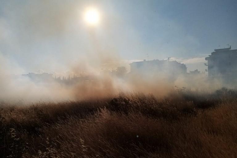 Incendio in via cappella Chicoli. <span>Foto Cosma Cacciapaglia</span>