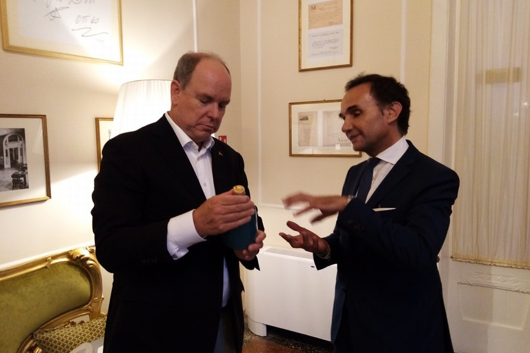 Incontro Ninni Gemmato con il Principe Alberto II di Monaco Rimini. <span>Foto Cosma Cacciapaglia</span>