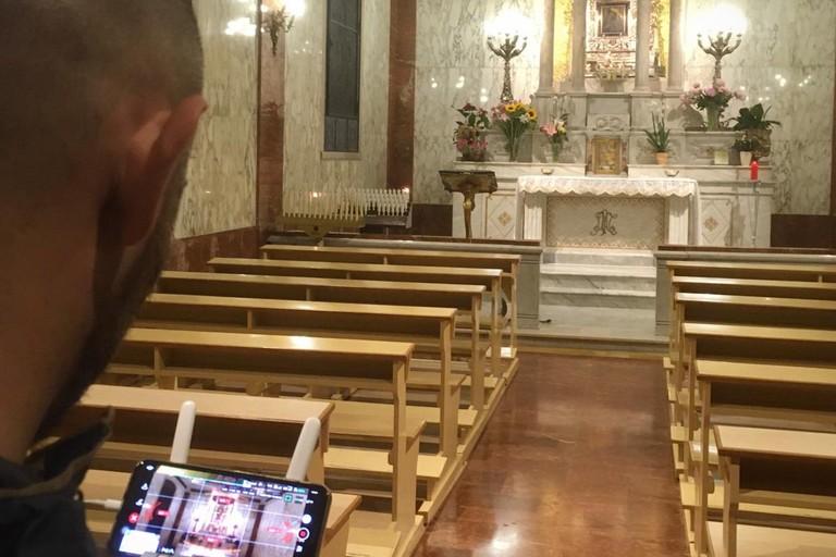 Le riprese nel santuario